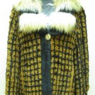 LADIES KNITTED BLACK & YELLOW COLOR BLOCK JACKET TRIM WITH FOX TRIM(SZ F=M)HH-45