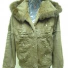 LADIES BROWN(KHAKI)  SHEARED RABBIT HOODIE JACKET TRIM WITH FOX (HH03) SZ F = M