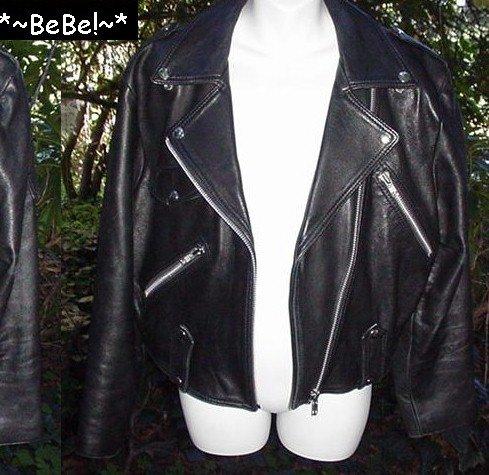 >~O~> BAD GIRL BIKER Motorcycle---== BEBE ==---Designer Black LEATHER JACKET $250.00 New!