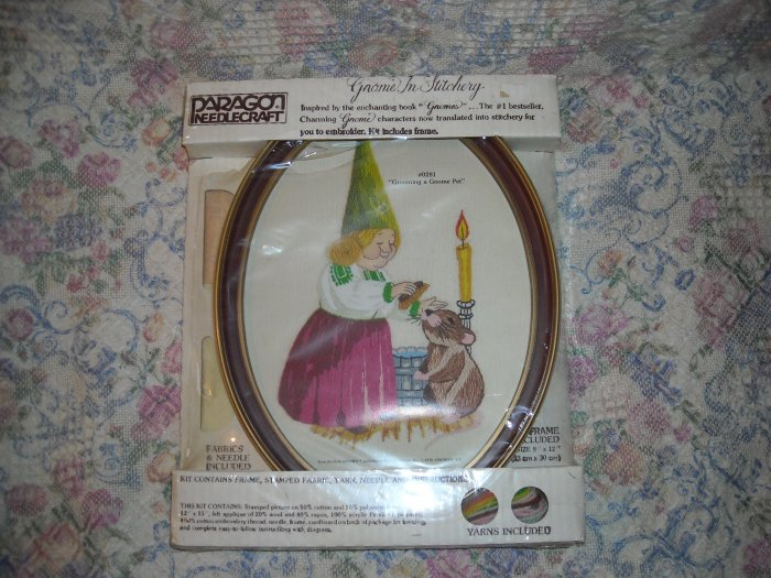 Vintage Gnome in Stitchery Cross Stitch Kit Grooming a Pet Gnome