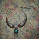 Vintage Spiderweb Turquoise Necklace Signed JB