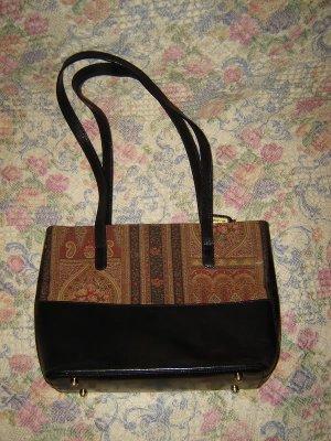 Brahmin Black Leather Tapestry Fabric Bag Purse