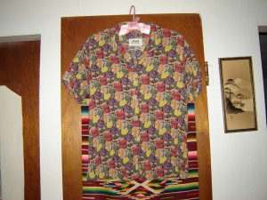 Flax Jeanne Engelhart Psychedelic Squash Rayon Shirt S