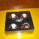Bombay Amaryllis Napkin Rings Set of 4 Floral Christmas