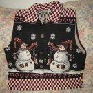 Womens Dress Barn Snowman Winter Christmas Vest L