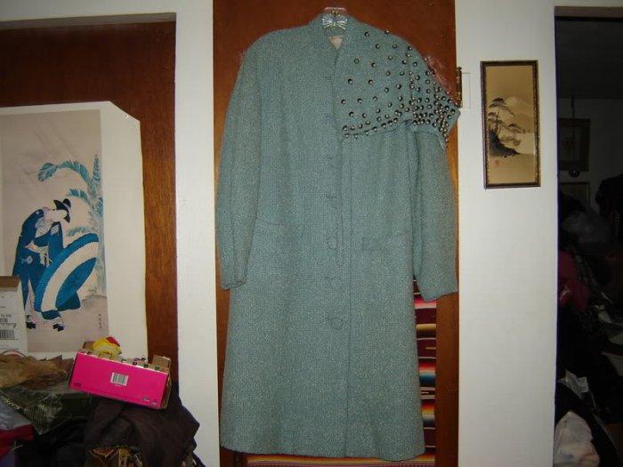 Womens Vintage Forstmann Wool Coat Beaded Head Scarf
