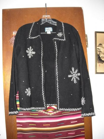 Womens Pendleton Black Light Wool Snowflake Jacket M