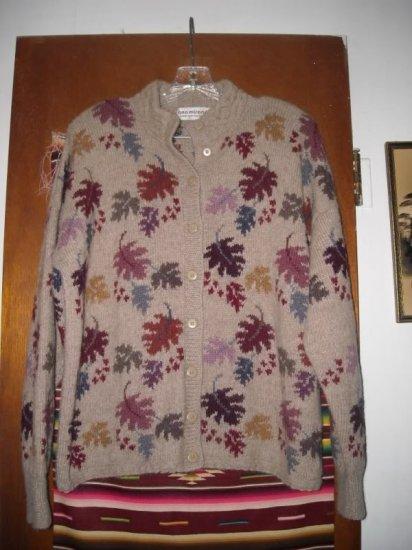 Womens Ana Miranda Leaves Peru Cardigan Sweater L XL