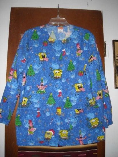 Spongebob Squarepants Christmas Scrub Top Jacket XS
