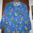 Spongebob Squarepants Christmas Scrub Top Jacket XS