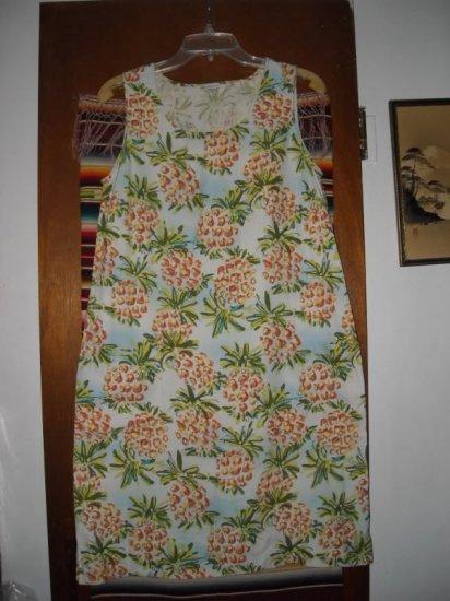 Womens Sportif Sleeveless Silk Shift Dress M Pineapple