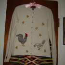 Northern Isles Rooster Chicken Feed Cardigan Sweater M