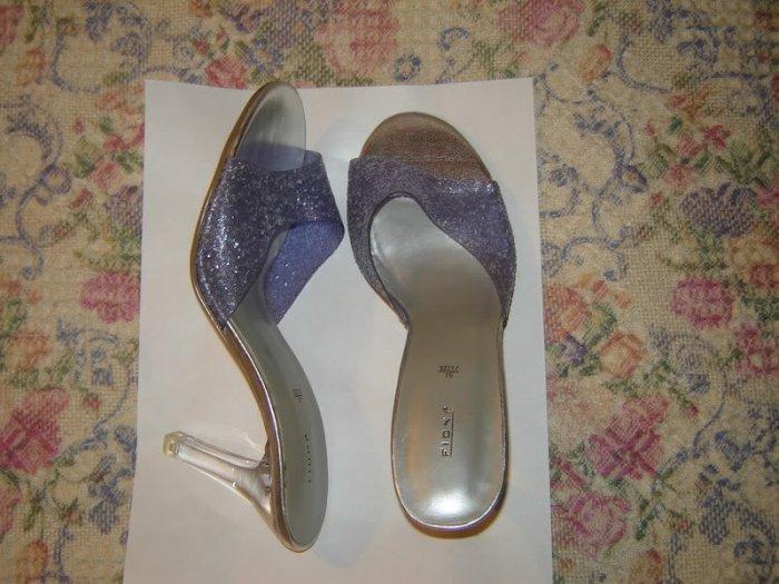 Fioni Purple Glitter Clear Heels Slides Mules Shoes 7.5