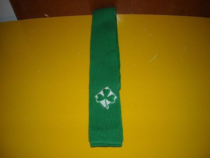 Mens Green Shamrock St. Patricks Day Knit Tie