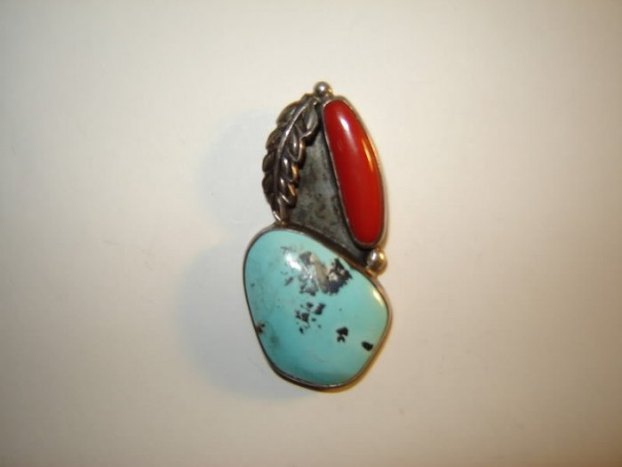 Vintage Turquoise Coral Feather Pendant