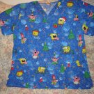 Spongebob Squarepants Christmas Scrub Top Shirt M L