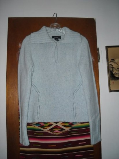 Womens Express Blue Wool Angora Sweater L