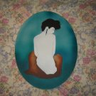 Classy Female Nude Original Art Painting Oval Shape