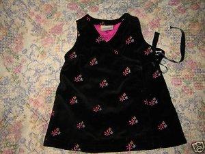 Hanna Andersson Baby Girls Black Velveteen Dress 70