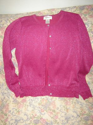 Womens Sparkly Fuchsia Pink Twinset Cardigan Shell M