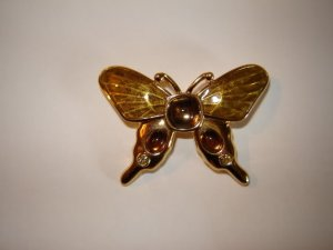 Monet Butterfly Pin Enamel Jewels Earth Tones
