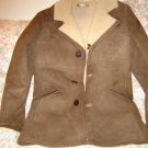 Mens Brown Suede Leather Sheepskin Shearling Coat 36 S