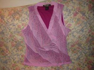 Bisou Bisou Mock Wrap Top Skirt Set Pink Stretch Lace L