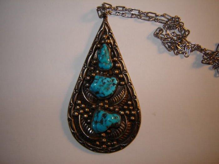 Vintage Large Turquoise Pendant