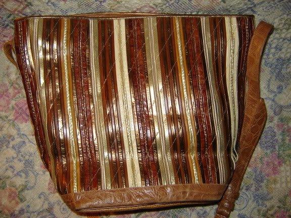Sharif Large Gold Metallic Leather Shoulder Bag Unused
