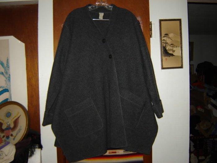 Womens J Jill Grey Asymetrical Wool  Swing Coat M