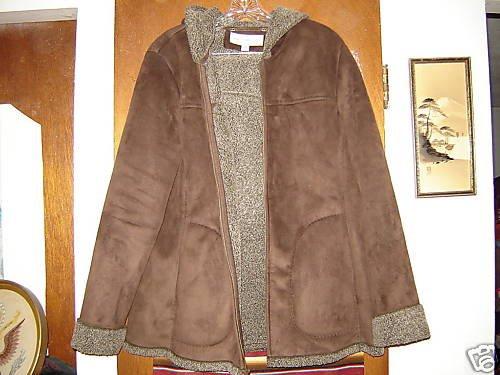 Womens Jones New York Faux Shearling Hooded Jacket M L