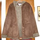 Womens Jones New York Faux Shearling Hooded Jacket M L