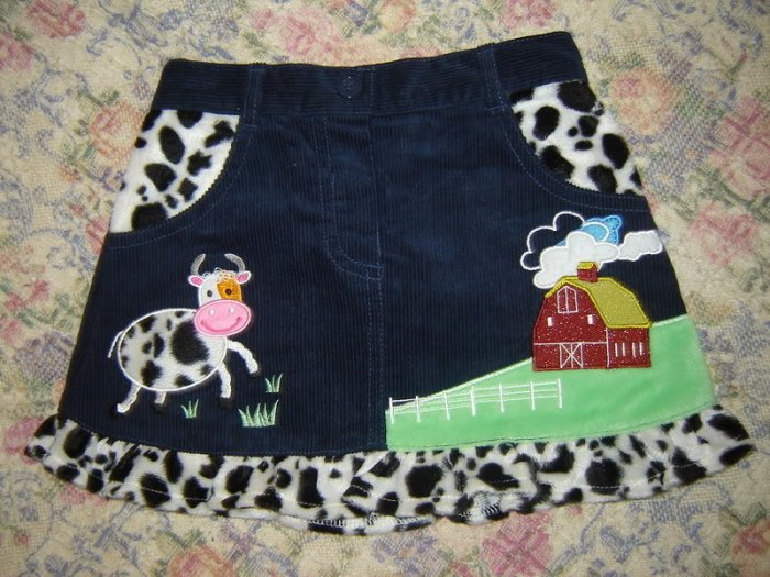 Toffee Apple Farmyard Cow Horse Ruffled Skirt 3T