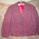 Womens Irish Tweed Hourihan Pink Plaid Jacket 16 M