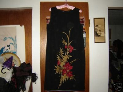 Kasper ASL Black Sleeveless Orchid Floral Dress 12