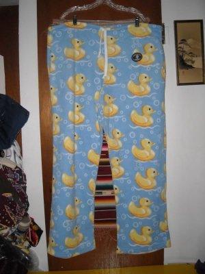 Womens Fleece Grandma Pants Ducks L