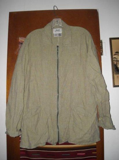 Womens Flax by Jeanne Engelhart Green Linen Jacket M