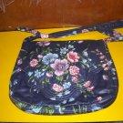 Navy Blue Floral Fabric Bag Shoulderbag