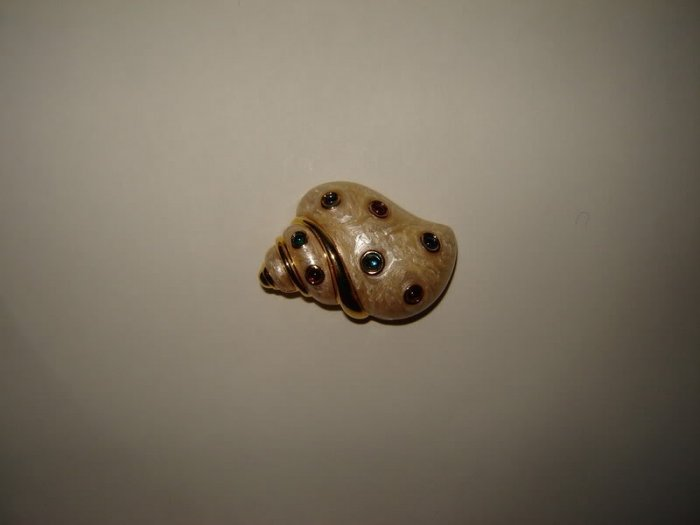 Conch Seashell Pin Enamel Iridescent Jeweled
