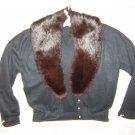 Womens Vintage Black Cardigan Sweater w Fur Collar S