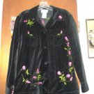 Womens Quacker Factory Black Velvet Roses Jacket XS
