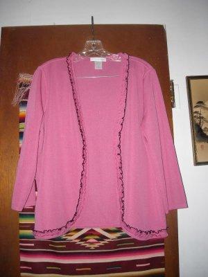 Womens Pink Black Ruffled Trim Cardigan Sweater L