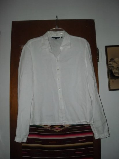 Womens Boden White Linen Shirt Blouse 20