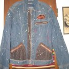 Mens Von Dutch Denim Jacket Leather Trim Distressed