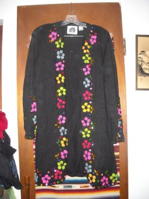 Womens Storybook Knits Floral Passion Sweater Coat L