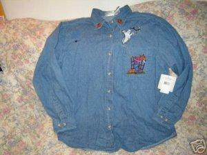 Womens Bill Blass Denim Halloween Shirt L New NWT