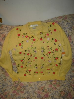 Womens Susan Bristol Yellow Cardigan Sweater S