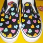 Vans Candy Hearts Womens 9.5 Mens 8 Canvas Slip Ons