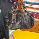 Betsey Johnson Leather Grommet Beaded Barrel Bag