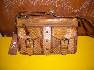 M.C. Marc Chantal Bronze Leather Organizer Bag Purse